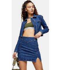 mid stone stretch denim pelmet mini skirt - mid stone