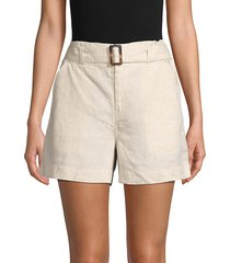 saks fifth avenue women's belted linen shorts - natural - size l