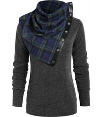 plain sweatshirt and tartan neck gaiter