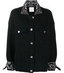 barrie oversized cashmere bandana jacket - black