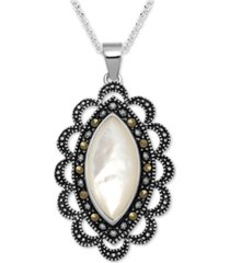 """marcasite & mother-of-pearl antique-look 18"""" pendant necklace in fine silver-plate"""