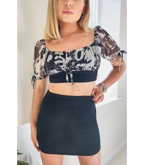 mesh tie detail top and mini skirt co-ord, black