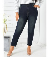 talla grande azul marino classic cinco bolsillos jeans