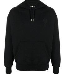 ami alexandre mattiussi black organic cotton hoodie