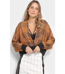 blusa open ampla manto punho feminina