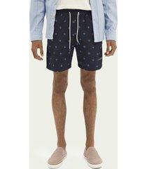 scotch & soda printed mid-length swim shorts