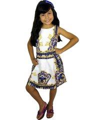 vestido blanco arabescos azules vt-00223