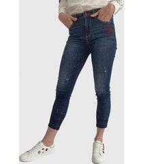 jeans desigual azul - calce skinny