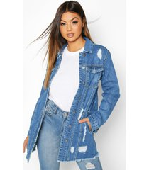 distressed frayed hem jean jacket, light blue
