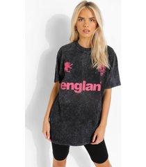 acid wash gebleekt engeland voetbal t-shirt, charcoal