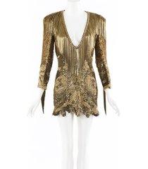 balmain gold sequin chainlink fringe mini dress gold sz: m