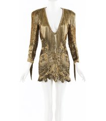 balmain sequin chainlink fringe mini dress