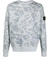 stone island camouflage-print sweatshirt - blue