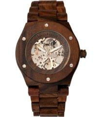 earth wood grand mesa automatic skeleton wood bracelet watch brown 44mm