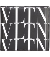 valentino garavani black & white vltn leather wallet