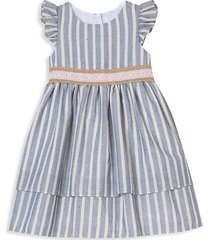 laura ashley london little girl's striped tiered dress - blue white - size 6