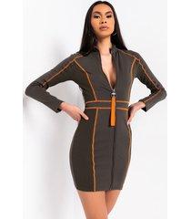 akira untamed long sleeve zip up mini dress
