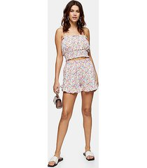 floral print frill shorts - multi