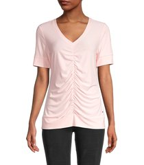 tommy hilfiger women's ruched-front top - light pink - size l