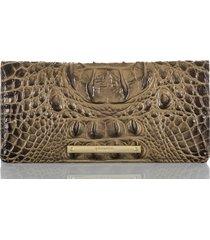 women's brahmin 'ady' croc embossed continental wallet - brown