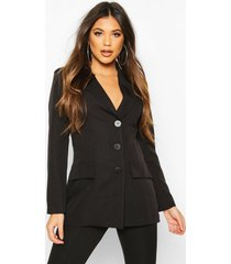 button down fitted blazer, black