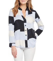nic+zoe women's in the clouds shirt - blue multicolor - size xs