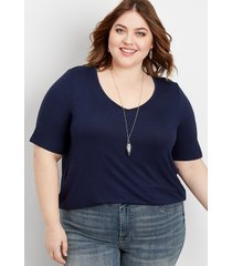 maurices plus size womens 24/7 flawless solid tee blue