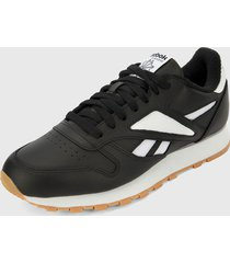 tenis lifestyle negro-blanco reebok cl leather mark