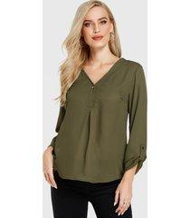 yoins botón verde militar diseño blusa de manga larga con cuello de pico