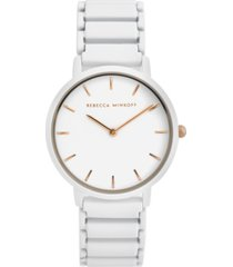rebecca minkoff women's major white matte paint stainless steel bracelet watch 35mm