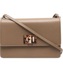 furla leather satchel bag - brown