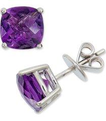 amethyst cushion stud earrings (3-3/4 ct. t.w.) in sterling silver