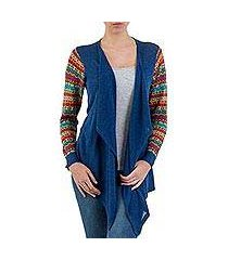 cotton blend cardigan, 'market walk in blue' (peru)
