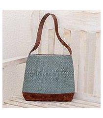 leather accent cotton shoulder bag, 'mint diamonds' (guatemala)