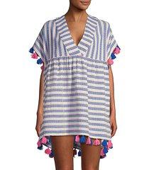 tessora women's luna tassel embellished cover-up - electric blue on pink - size m/l