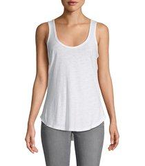 james perse women's high-low cotton-blend tank top - white - size 3 (l)