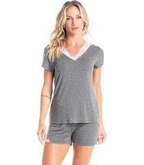 pijama curto com renda letícia