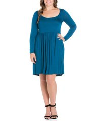 women's plus size casual long sleeves pleated dress