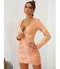 yoins cuello en v profundo cremallera metálica delantera mangas largas mini vestido