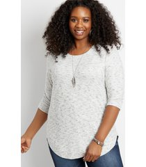 maurices plus size womens spacedye round hem pullover gray
