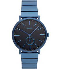 uri minkoff norrebro men's blue stainless steel bracelet watch 40mm