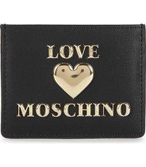 love moschino women's logo card case - black