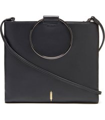 thacker le pouch leather ring handle crossbody bag - black