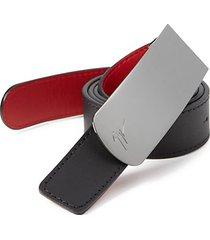 reversible croc-embossed leather belt