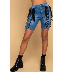 akira cara lace up denim shorts