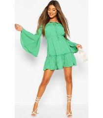 off the shoulder mini dress, green