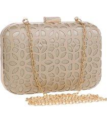bolsa clutch liage detalhes em couro pu alã§a removivel metal dourada  bege - bege/dourado/ - feminino - dafiti