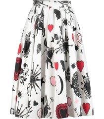 alexander mcqueen printed cotton skirt