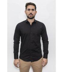 camisa negra el genovés elastizada