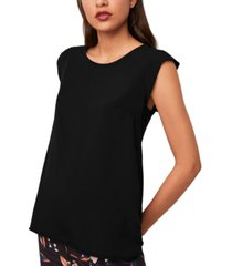 french connection cap-sleeve crepe top